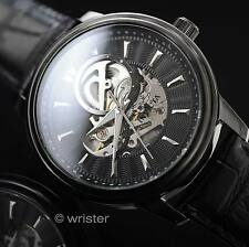 Invicta Vintage Automatic Mechanical Skeleton Dial Black Leather 45mm Mens Watch