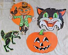 VINTAGE 1960's or 50's  FOUR PIECE LOT ORIGINAL BEISTLE ONE SIDED HALLOWEEN DECO