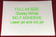 30 SHEETS A4 Glossy Printable White Self Adhesive Sticker Paper Laser and Inkjet