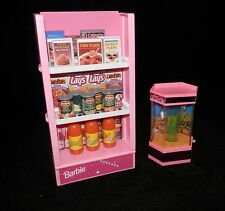 Barbie Aquarium / Grocery Store Food Shelf  With Groceries vintage - Free Ship