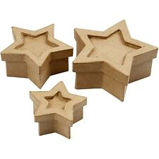 3 star boxes,  hand-made papier paper mache decollage paint novelty  PM709