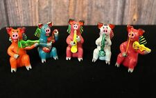 Set of 5 Colorful Ornaments, Pigs playing Instruments, Mexican folk art Ortega