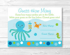 """Blue Under The Sea Baby Shower """"Guess How Many?"""" Game Cards"""
