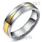 TTstyle 6mm 14K Gold GP Stainless Steel Wedding Band Ring