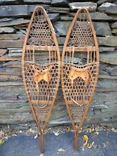 "GREAT Set of Snowshoes 45"" Long by 10"" Wide Leather Bindings Signed THE NORWAY"
