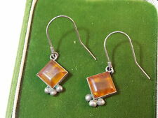 Vintage Natural Honey Amber Square Dangle Pierced Silver Earrings 4i 6