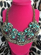 Betsey Johnson HUGE Patina Oxidized Copper Bib Turquoise Skull Rose Necklace