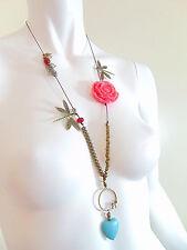 Modeschmuck  Türkis kette Bronze mit Glasperlen und Rosa, von Catia Levy