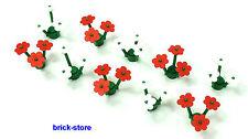 LEGO®  10 Stück  /  5 rote und 5 weiße Blumen