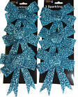 Set Of 6 TEXTURED Glitter Hot Blue Bow Christmas Tree Baubles Decorations