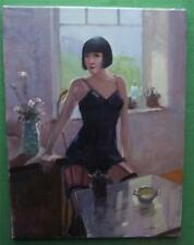 Art Deco Square Bob Hair Girl in Girdle : Original Oil Painting Zlatan Pilipovic