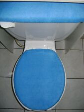 SOLID BLUE Fleece Fabric Elongated Toilet Seat Cover Set