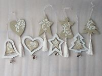 Beige Cream Wooden Christmas Tree Room Hanger Decoration Angel Heart Star Bell