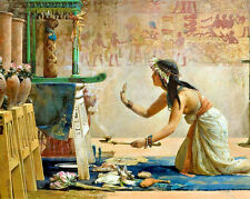 Egypt Cat Idol Scene Egyptian Woman Painting 8x10 Real Canvas Fine Art Print