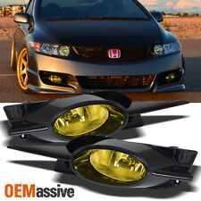 Fits 09-11 Civic 2Dr Coupe JDM Yellow Bumper Driving Fog Lights w/Bulbs + Switch