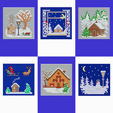 Set of 6 Christmas Cards of Christmas Scenes- Cross stitch Card kit - 6 cards