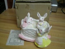 Vintage George Goode Bunny Rabbits in Cradle Music Box New Old Stock with box
