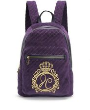 NWT $228 JUICY COUTURE JC MONOGRAM QUILTED VELOUR BACKPACK bag AUBERGINE logo