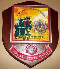 Scottish Fire and Rescue Service wall plaque personalised free of charge.