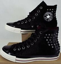 New Womens CONVERSE 9 CT Hi Black Velvet Basketball Shoes $100 141621C Mens 7