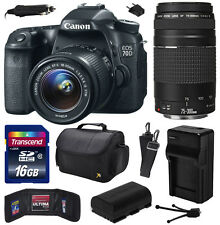 Canon EOS 70D DSLR Camera with 18-55mm + 75-300mm III Lens (16GB Value Bundle)