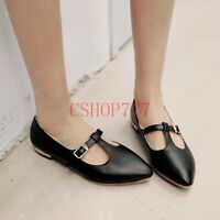 New Stylish Ladies Leather T-strap Pointed Toe Loafers Casual Formal Flats Size