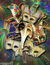 2014 Mardi Gras Poster/ New Orleans/17x22 inches/Masks/Beads/Bourbon Street