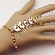 Sklavenarmband Armband Ring Handschmuck Strass Bollywood Hochzeit Gold Klar