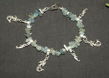 Mermaid, Seahorse & Kyanite Gemstone Charm Bracelet - Pagan, Witchcraft, Wicca