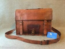 "Handmade Goat Leather 15"" Satchel SLP Laptop Bag Padded Billy Goat Designs"