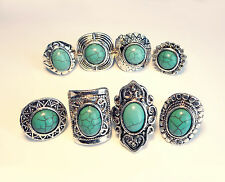 Three Geometric Navajo Rings-Turquoise Stone-Vintage Jewellery-Tribal Aztec Ring