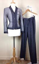 Akris Punto Women's Gray / Blue 2 Piece Work Casual Pant Suit Set Sizes 6 / 8