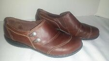 Used Womens 8 M CLARKS BENDABLES Brown Leather Clog Comfort Shoes
