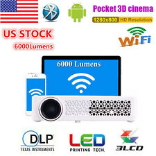 6000LUMENS ANDROID HD 1080P 4K 3D TV HOME THEATER PROJECTOR DLP WIFI MULTIMEDIA