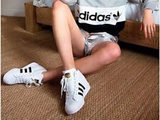 Brand Leather Shoes Sneakers Adidas Superstar UP 2strap M19513  Women's Wedge