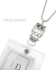 Silver OWL ID BADGE HOLDER Chain Necklace Filigree Lanyard Jewelry 8-1