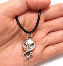 Lady Men Tibet Silver Space Star UFO Alien Pendant NECKLACE Long Leather Cord