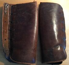 """VINTAGE EARLY 20TH C 6 BUTTON BROWN HARD LEATHER GATORS/ GAITORS 13 1/2"""" L"""