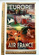 Original Authentic 1948 Air France Europe Poster Alepee Paris Printed In France