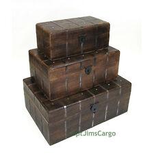 """Pirate Treasure Chest 18"""" Nested Wooden Storage Boxes Set of 3 Nautical Decor"""
