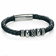 Fred Bennett Bracelet Celtic Plaited Leather with Stainless Steel Beads - Mens
