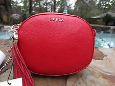 FURLA RED CLUTCH CUORE L HAMMERED LEATHER CROSSBODY PURSE HEART TASSEL