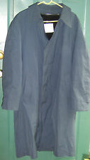 Men's Vtg LONDON FOG Fur Lined Blue Rain Over Coat Trench size 44 long USED