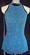 TEAL BLUE SPARKLE AND BLACK Ice Skating Dress / GIRLS LARGE 12 / 14