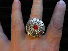 """Paparazzi StretchBand Ring (new) ROUND SILVER """"CONCHO"""" STYLE W/SMALL RED STONE"""