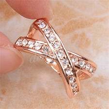18K Rose Gold Filled Open Cross Multiple White Crystal 10mm wide Ring SZ5 Y1219