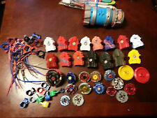 Bayblade Lot 9 Beyblade, 15 launchers and tools L Drago Pegasus cords parts