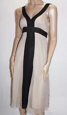Jonathan Martin Designer Beige Silk Chiffon Sleeveless Day Dress Size XS #SJ04