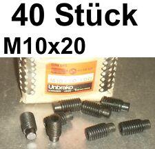 40 Madenschrauben Schraube M10x20 Schrauben Gewindestifte Zapfen Madenschraube