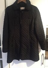 HOBBS Long Quilted Padded Coat Black Size 10